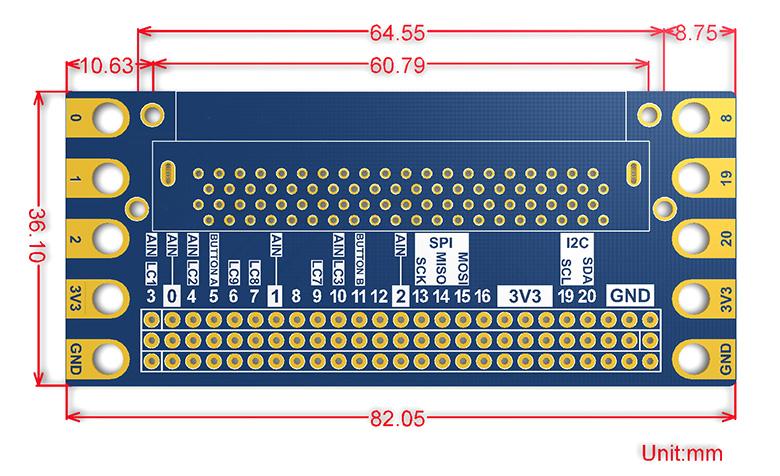 Размеры платы расширения штекерного соединителя для микро:бит