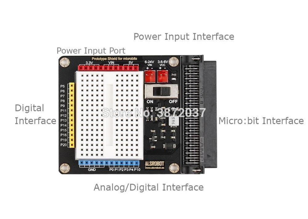 Технические данныеплаты расширения с макетом для microbit