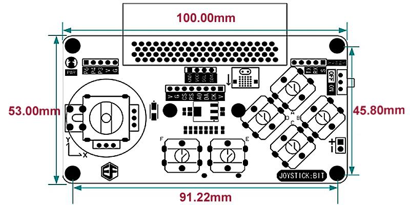 размеры Joystick bit модуля расширения и прозрачный корпус для microbit